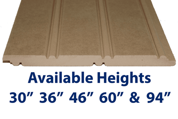 "Fire Rated MDF Beadboard Panel Sample Class 1 / Class A are available in 30"", 36"", 46"" 60"" and 94"" heights. Custom heights also available up to 109"""