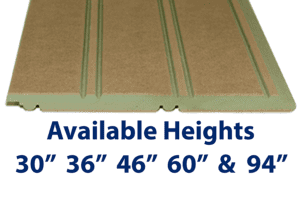 """Mositure Resistant MDF Beadboard Panel Ideal for bathrooms and basements are available in 30"""", 36"""", 46"""" 60"""" and 94"""" heights. Custom heights also available up to 109"""""""