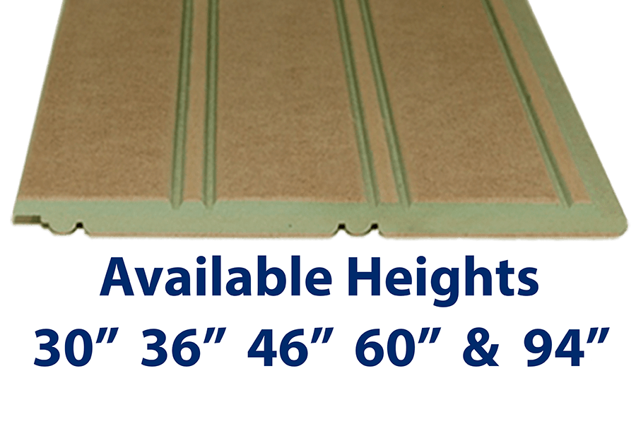 "Mositure Resistant MDF Beadboard Panel Ideal for bathrooms and basements are available in 30"", 36"", 46"" 60"" and 94"" heights. Custom heights also available up to 109"""