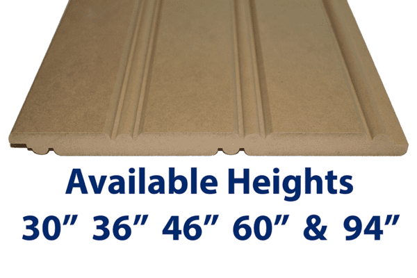 """American Beadboard Panel is available in 30"""", 36"""", 46"""" 60"""" and 94"""" heights. Custom heights also available up to 109"""""""