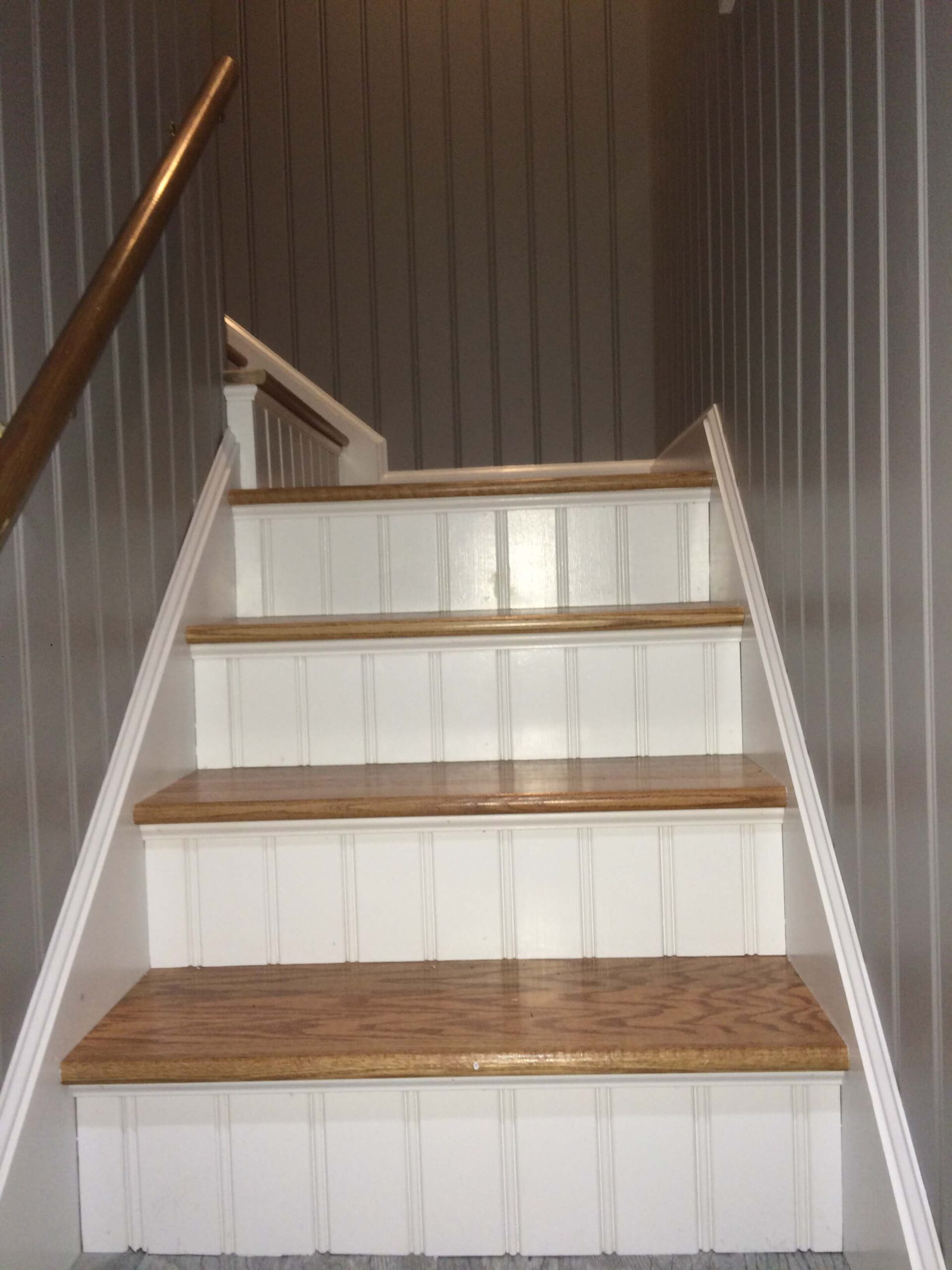 American Beadboard on staircase walls and step risers