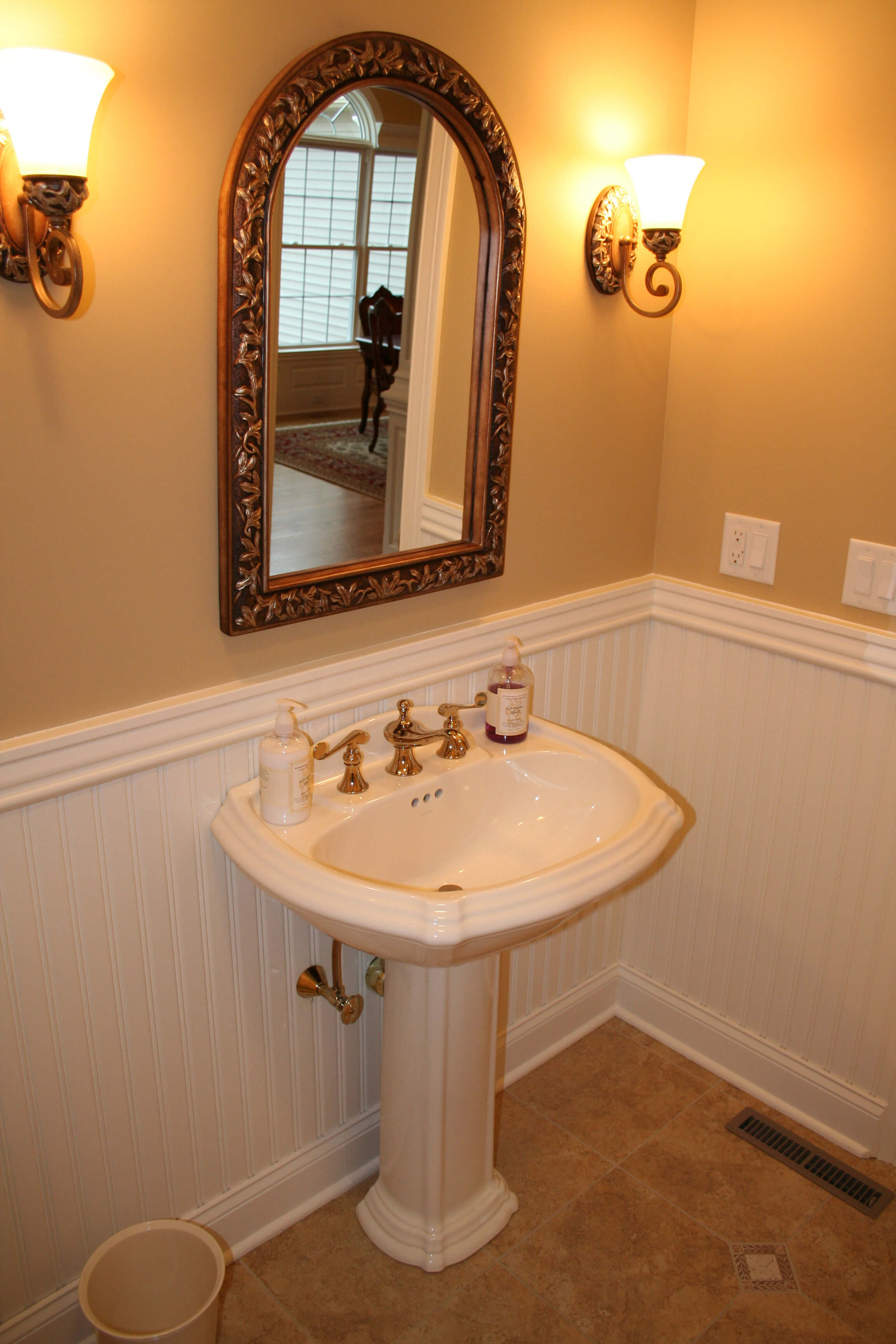 "American Beadboard with 3 1/4"" top cap molding in a powder room"