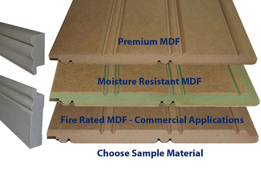 Premium MDF, Moisture Resisatant MDF and Fire Rated Commercial MDF Beadboard samples