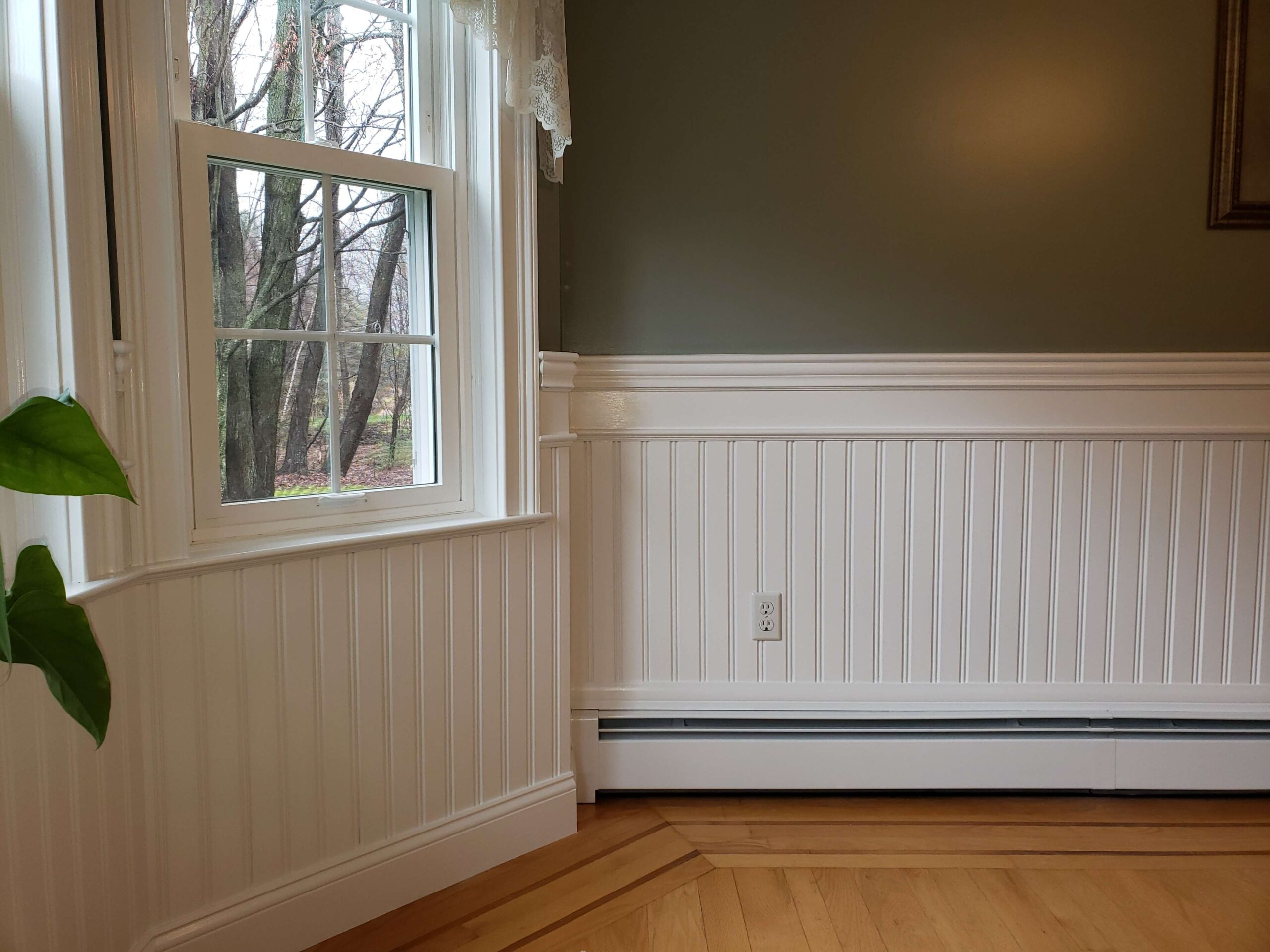 "American Beadboard with 3 1/4"" top cap chair rail molding in Thomaston CT"